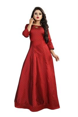 Red printed silk blend maxi-dresses