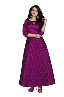 Wine printed silk blend maxi-dresses