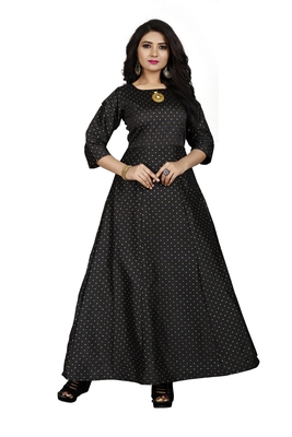 Black printed silk blend maxi-dresses