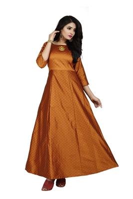 Orange printed silk blend maxi-dresses