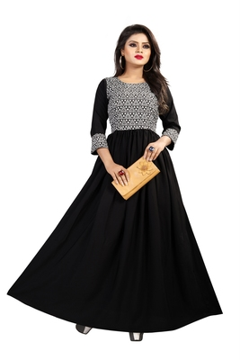 Black printed crepe maxi-dresses