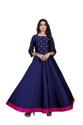 Blue embroidered jacquard maxi-dresses