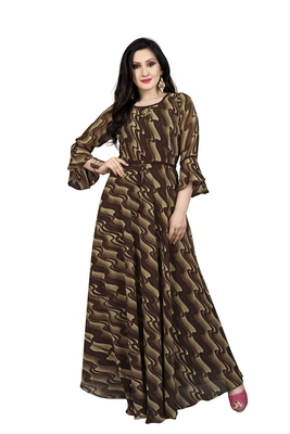 Chocolate printed georgette maxi-dresses