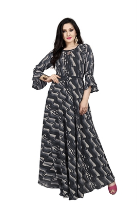 Black printed georgette maxi-dresses