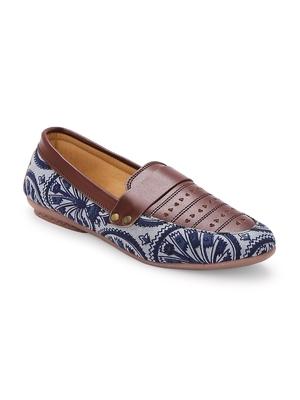 Women Ethnic Blue Dabu Boyfriend Moccasins Shoes