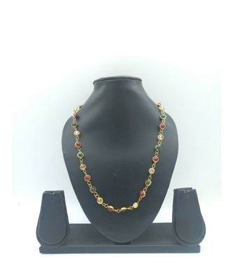 TRADITIONAL MULTICOLOR STONE ADORNED GOLD PLATED LINKED CHAIN FOR GIRLS