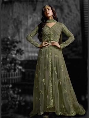 Green Butterfly Net Partwear Salwar Kameez Semi Stitched