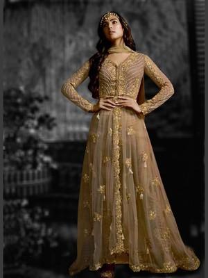 Beige Net Partwear Salwar Kameez Semi Stitched