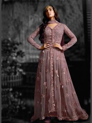Violet Net Partwear Salwar Kameez Semi Stitched