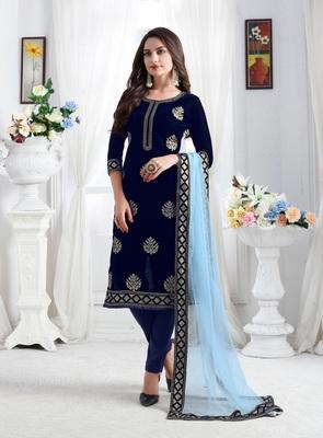 Blue embroidered velvet salwar