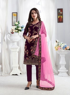 Wine embroidered velvet salwar