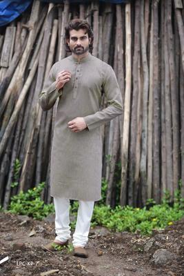 Grey plain poly cotton men-kurtas