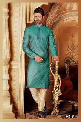 Green embroidered jacquard men-kurtas