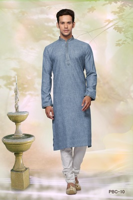 Blue plain cotton men-kurtas