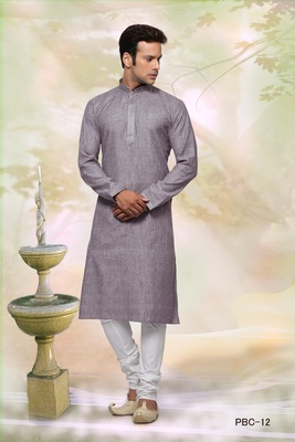 Purple plain cotton men-kurtas