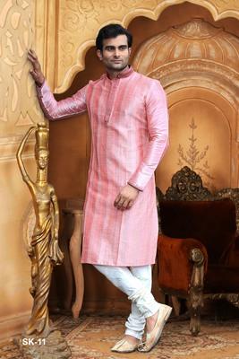 Pink embroidered dupion silk men-kurtas