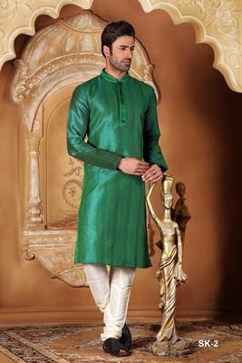 Green embroidered dupion silk men-kurtas