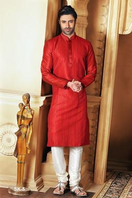 Red embroidered dupion silk men-kurtas