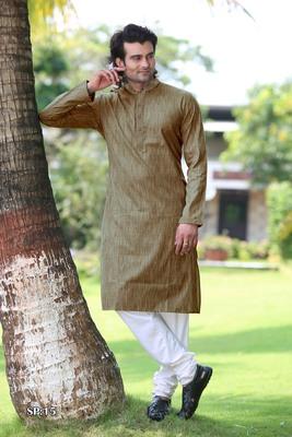 Brown plain poly cotton men-kurtas