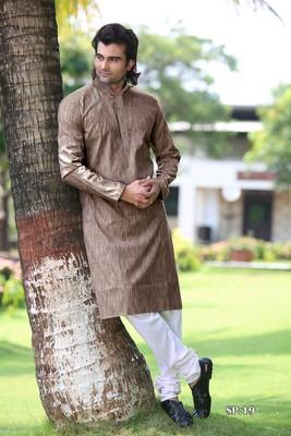 Green plain poly cotton men-kurtas