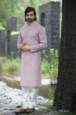 Purple plain poly cotton men-kurtas