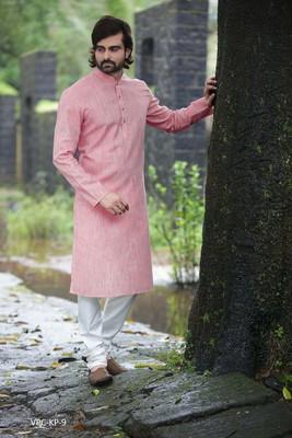 Pink plain poly cotton men-kurtas