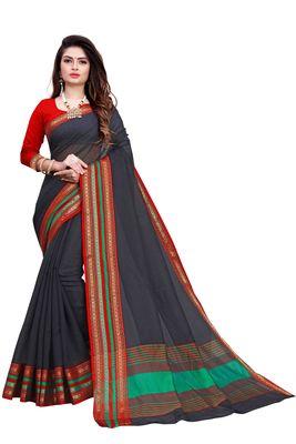 Black plain manipuri silk saree with blouse