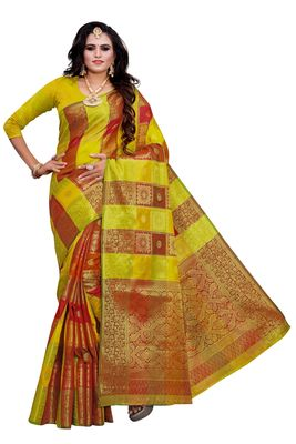 Lime woven silk blend saree with blouse