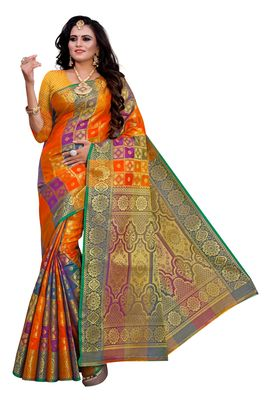 Orange Woven Silk Blend Saree With Blouse