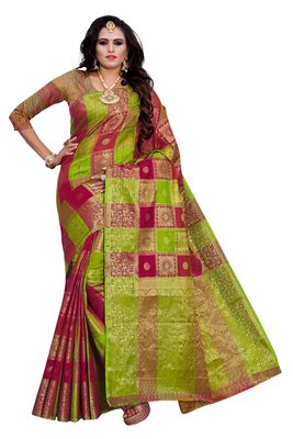 Burgundy woven silk blend saree with blouse
