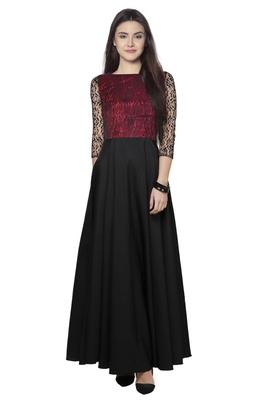 Maroon printed crepe maxi-dresses