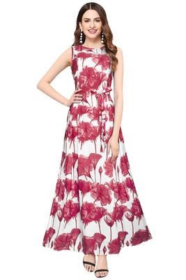 Pink printed crepe maxi-dresses