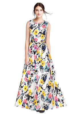 Yellow printed silk blend maxi-dresses