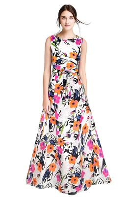 Orange printed silk blend maxi-dresses
