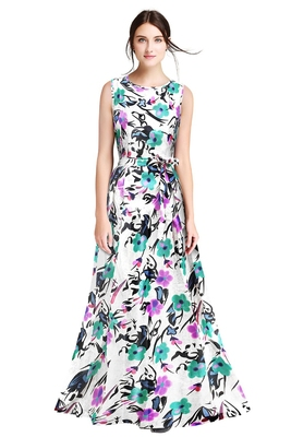 Wine printed silk blend maxi-dresses