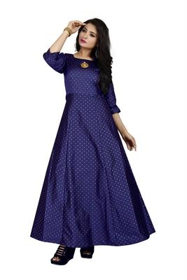 Blue printed silk blend maxi-dresses