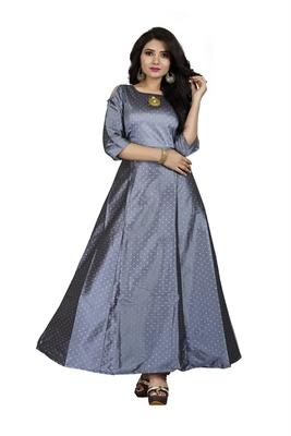 Grey printed silk blend maxi-dresses