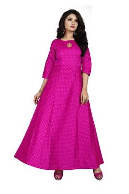 Pink printed silk blend maxi-dresses