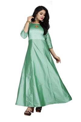 Green printed silk blend maxi-dresses