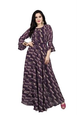 Brown printed georgette maxi-dresses