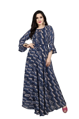 Blue printed georgette maxi-dresses