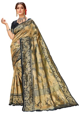 Black woven art silk saree with blouse