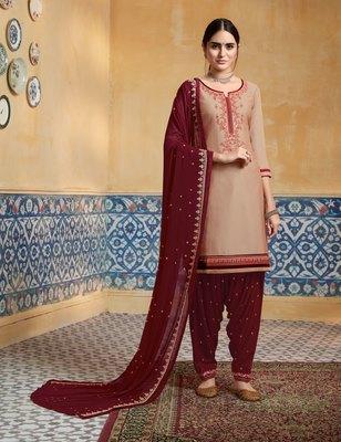 Beige embroidered satin salwar