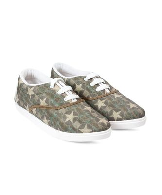 Women Olive Canvas Sneakers
