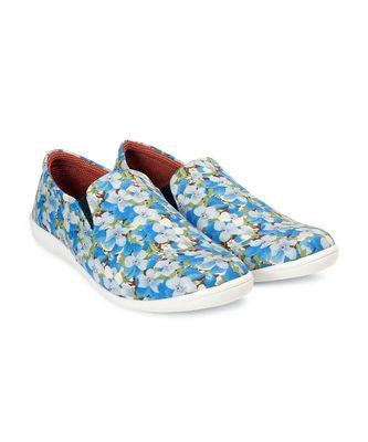 Women Blue Canvas Slip-On Sneakers
