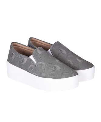 Women Grey Canvas Slip-On Sneakers