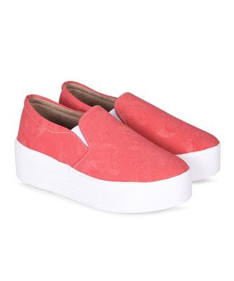 Women Red Canvas Slip-On Sneakers