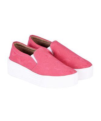Women Pink Canvas Slip-On Sneakers