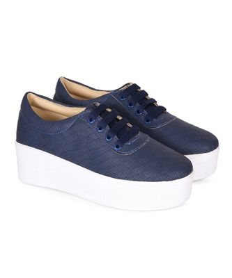 Women Blue Synthetic Leather Sneakers