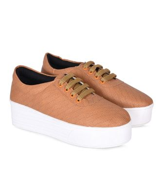 Women Tan Synthetic Leather Sneakers